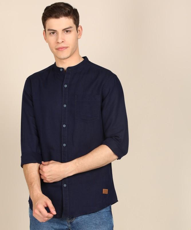 Wrangler Men Solid Casual Dark Blue Shirt