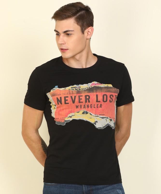 Wrangler Printed Men Round Neck Black T-Shirt