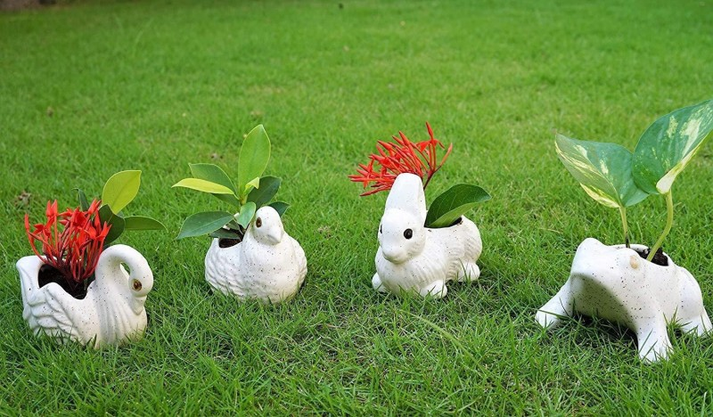 Bright Shop Handcrafted Ceramic Set of 4 , Swarn,Frog,Bird ,Rabbit Planter Pot, Ceramic Vase(5 inch, White)