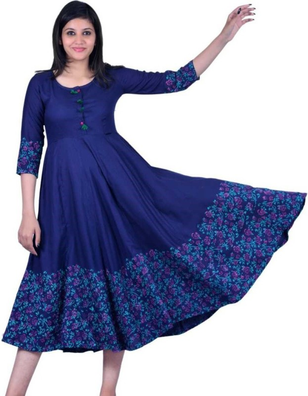 Navjeet Arts Women Printed Flared Kurta(Blue)