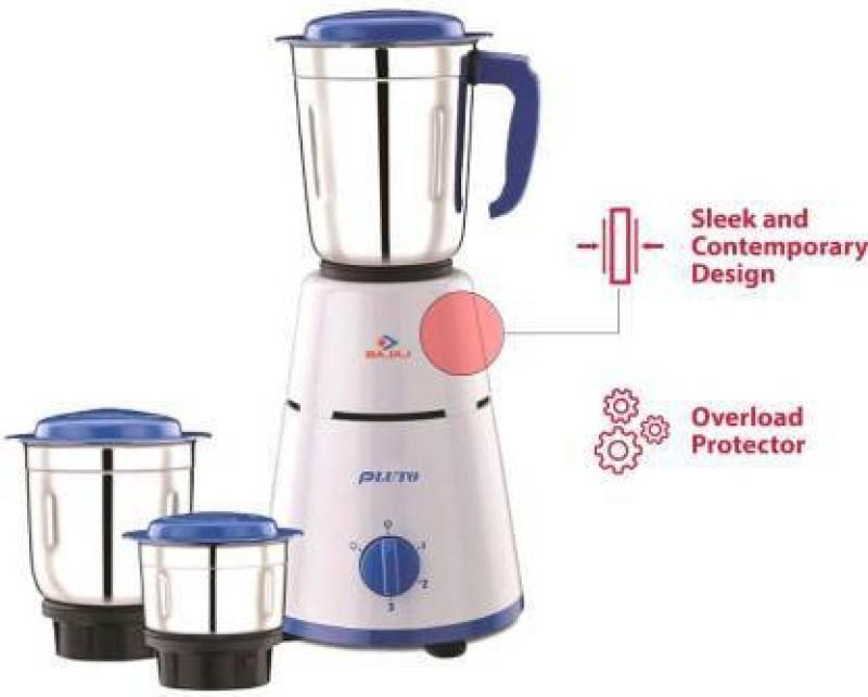 Bajaj Pluto Mixer Grinder Combo With Chamak Tourch 500 W Mixer Grinder(White, Blue, 3 Jars)