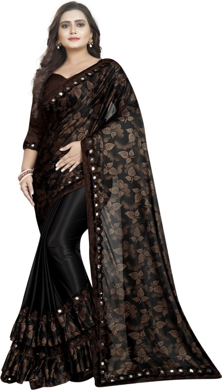 G-Stuff Fashion Printed, Embellished Bollywood Lycra Blend Saree(Brown, Black)