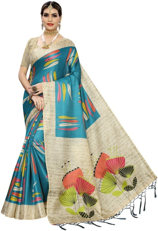 MISILY Printed, Self Design, Embellished, Applique, Floral Print Bollywood Art Silk, Poly Silk Saree(Multicolor)