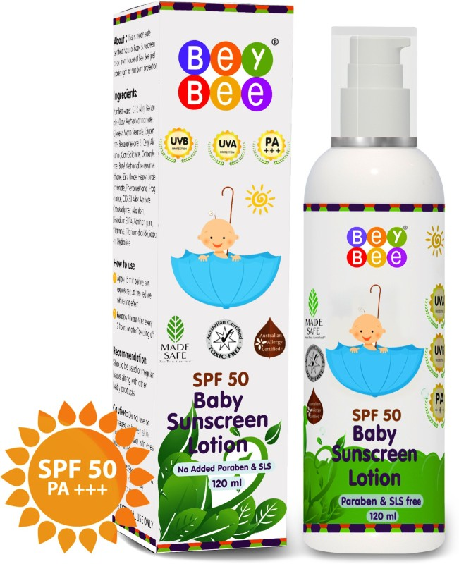 Bey Bee Mineral Based Natural Baby Sunscreen Lotion for Kids, SPF 50, PA+++, UVA/UVB Protection(120 ml)