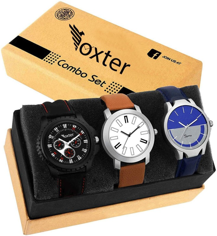 Foxter Combo Of Three Leather Super Quality Watch Watch Analog Watch - For Boys