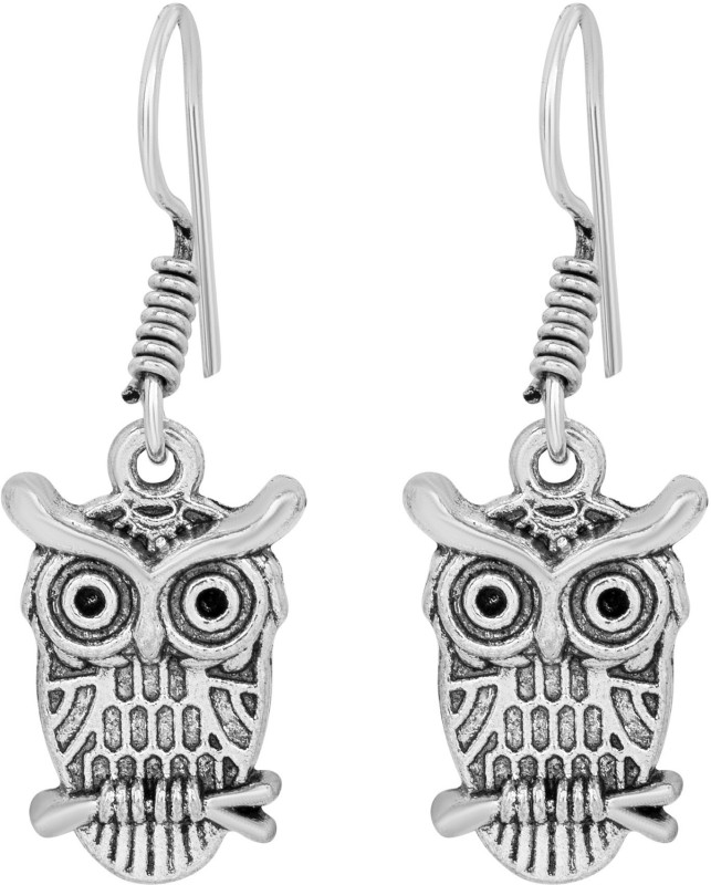 morir Silver Plated Night Creature Owl Bird Antique Design Fashionable Ear Wire Hook Drop Daily Wearing Lovely Gift Trendy Dangle Earrings Jewelry For Women And Girls Brass Drops & Danglers