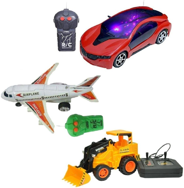 New Pinch Combo of Remote Control 3D Lighting Effect Racing Car & Remote Control Plane with Wired Remote JCB best return gift for kids (Multicolor)(Multicolor)
