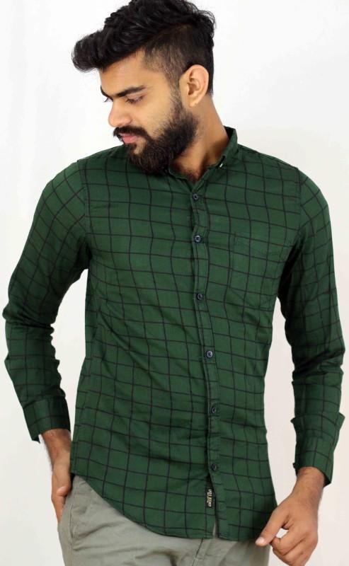 Indi Hemp Men Checkered Casual Dark Green Shirt