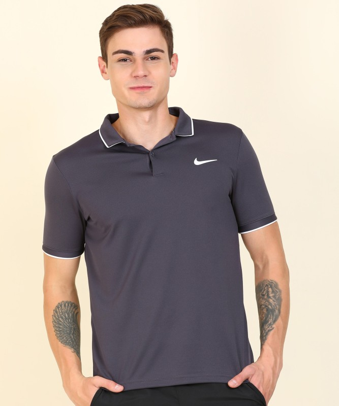 Nike Solid Men Polo Neck Blue T-Shirt