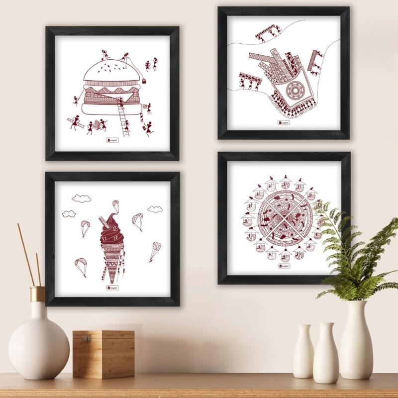 "Wall Decor For Living Room Ethnic Design Food Digital Print Poster Frames 8""x8"" Set of 4_I-PSFSWBK04SQ08-FFNI19030 Paper Print(8 inch X 8 inch, Framed)"