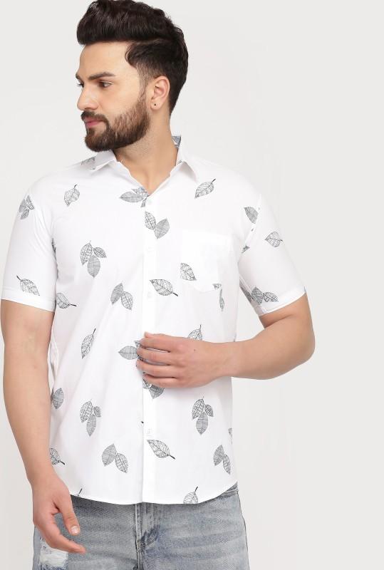 COBIO MAN Men Floral Print Casual White Shirt