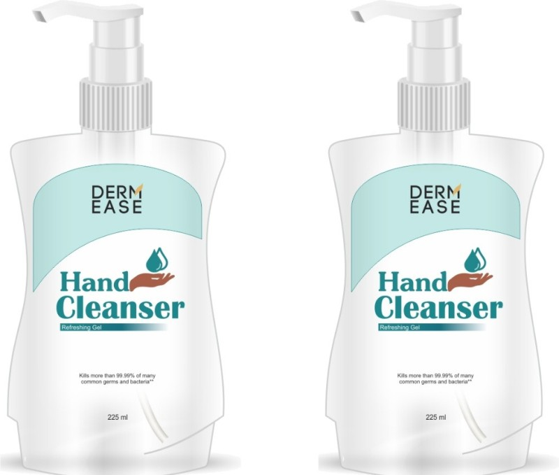 DERMEASE Hand Sanitizer with 100% Gauranteed Germ Free Hand Pack Of 2 Pump Dispenser(2 x 225 ml)