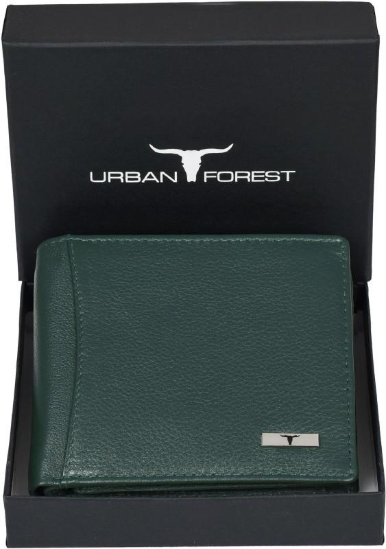 URBAN FOREST Men Green Genuine Leather Wallet(6 Card Slots)