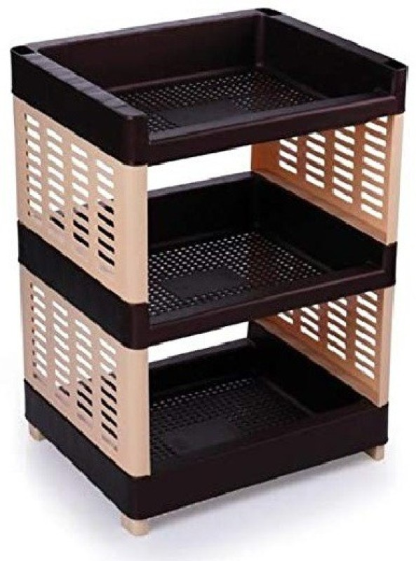 aaKaR - Viva 3 Layer Compartments Plastic Rack for Office, Kitchen and General Use Plastic Wall Shelf(Number of Shelves - 3, Multicolor)