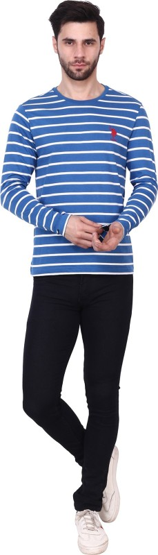 U.s.Polo Association Striped Men Round Neck Blue T-Shirt