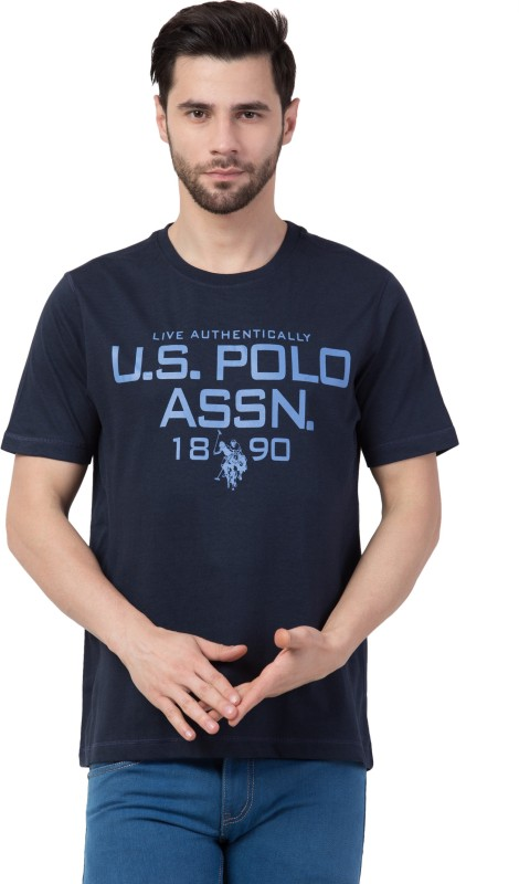 U.s.Polo Association Typography Men Round Neck Dark Blue T-Shirt