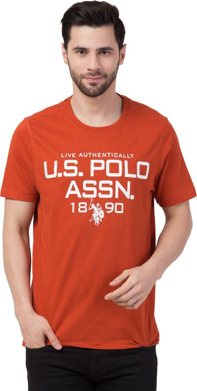 U.s.Polo Association Typography Men Round Neck Orange T-Shirt
