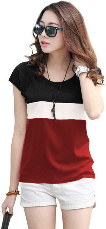 Rebound Casual Cap Sleeve Color Block Women White, Maroon, Black Top