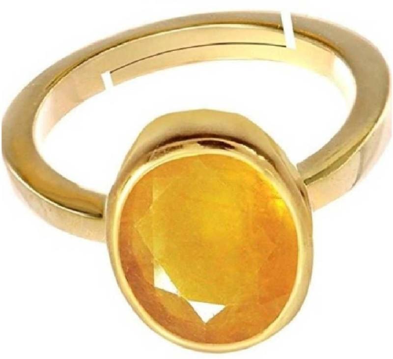 Gruvi 4.25 Pukharaj Rashi Ratan With Lab Test Stone Sapphire Platinum Plated Ring