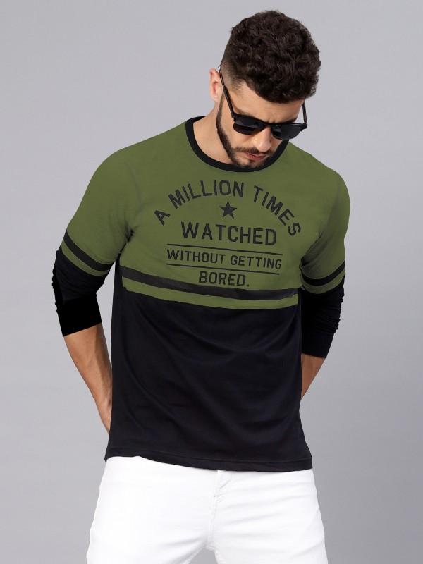 MANIAC Printed Men Round Neck Dark Green T-Shirt