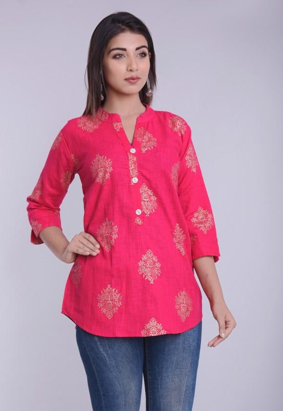 HANUMNTRA Casual 3/4 Sleeve Printed Women Pink Top