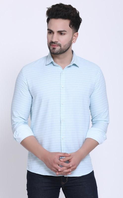 Cobija Men Striped Casual Light Blue Shirt