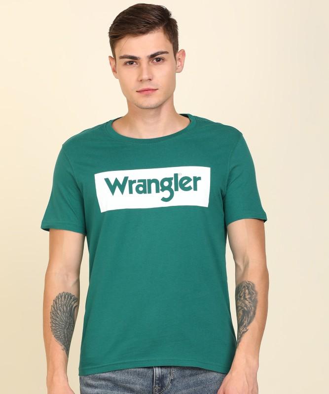 Wrangler Printed Men Round Neck White, Green T-Shirt