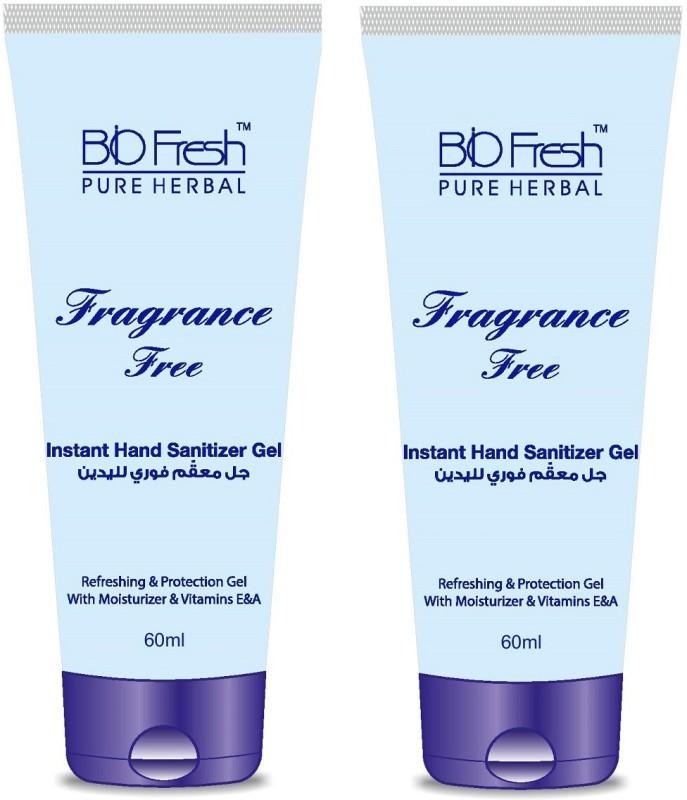 Biofresh Fragrance Free Instant Hand Sanitizer Gel ( Pack Of 2 ) Bottle(2 x 60)