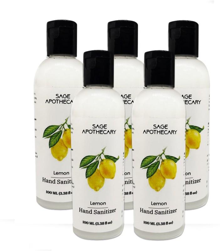 Sage Apothecary Lemon Hand Sanitizer Bottle Pack of 5 Combo (5X100ML) Bottle(5 x 100 ml)