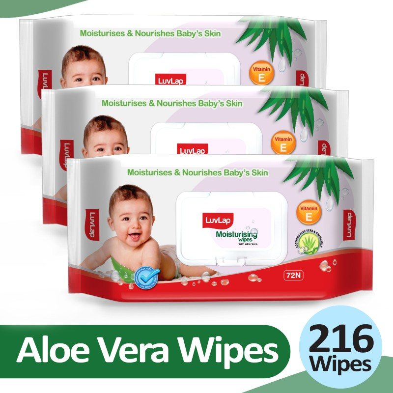LuvLap Baby Moisturising Wipes with Aloe Vera,72 Wipes/pack, with lid(3 Wipes)