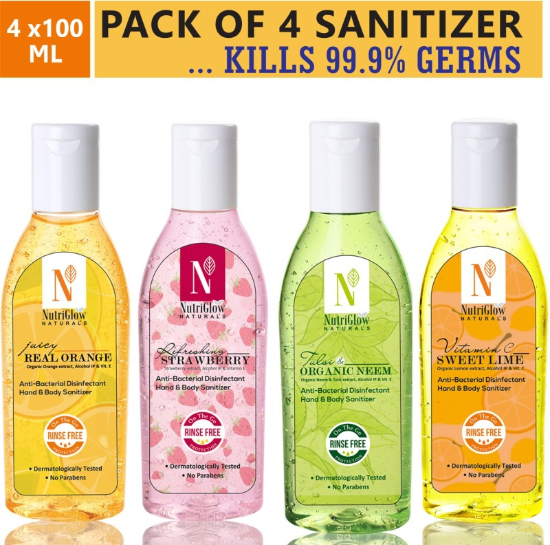 NutriGlow NATURAL'S HAND SANITIZERS COMBO Of 4 Variants /Neem +Orange +Lime+ Strawberry/ Disinfectant/ Protection Against Viruses, Flu, Bacteria/4*100 ml Bottle(4 x 100 ml)