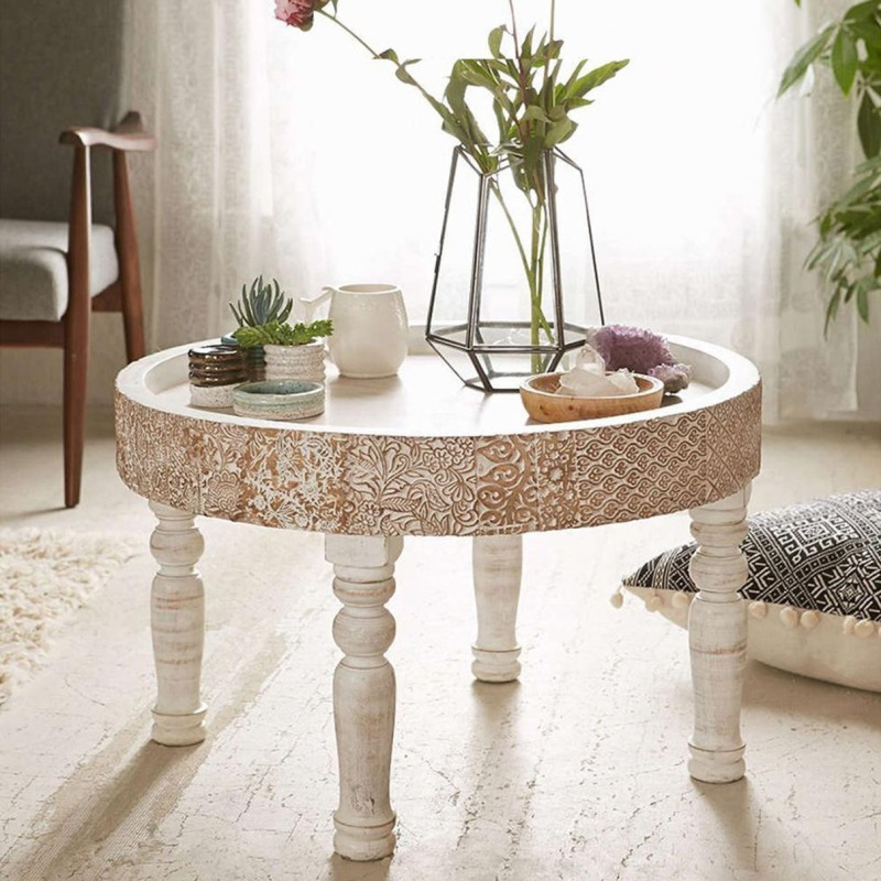 The Home Dekor Solid Wood Coffee Table(Finish Color - Distressed White)