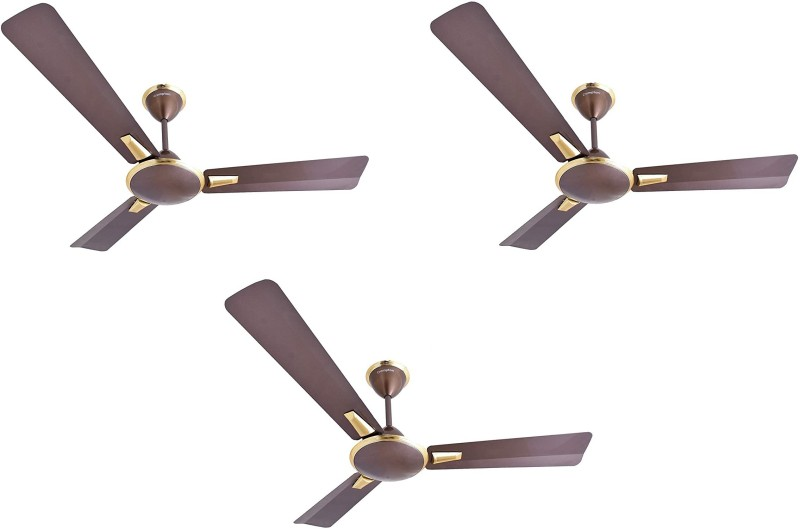 Crompton Aura Prime Pack of 3 1200 mm 3 Blade Ceiling Fan(Dusky Brown, Pack of 3)