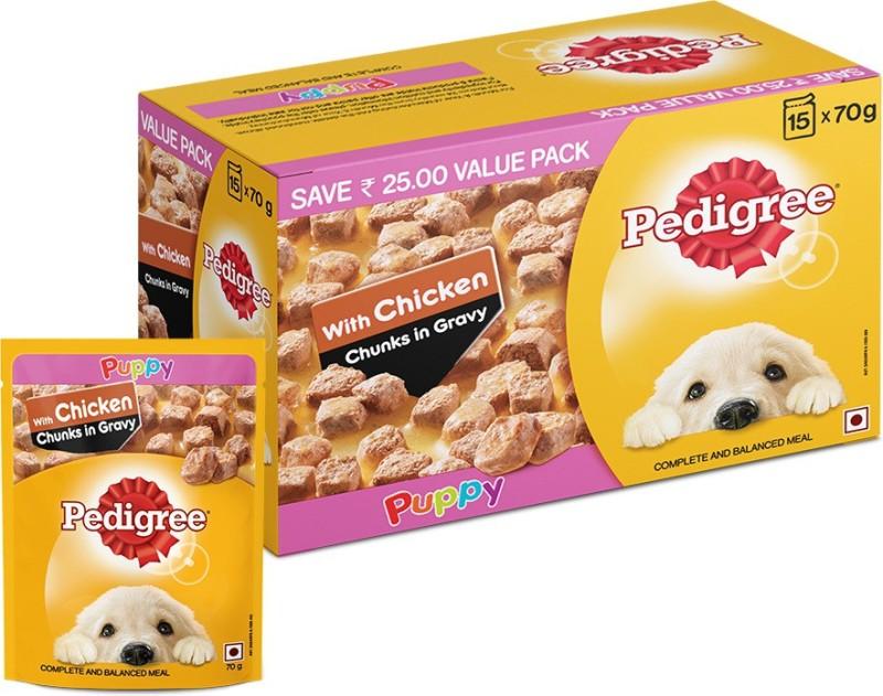 Pedigree Gravy Chicken Chunks for Puppy Chicken 1.05 kg (15x0.07 kg) Wet Dog Food