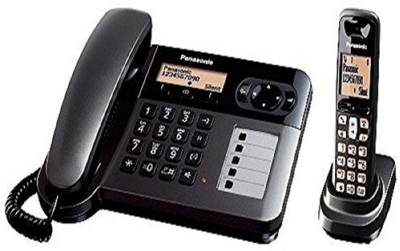 Panasonic KX TGF 110 Combo corded and cordless landline phone Corded & Cordless Landline Phone(Black)