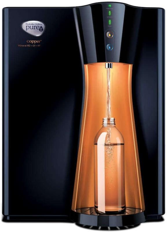 Pureit Copper Plus Mineral 8 L RO + UV + MF Water Purifier(Black, COPPER)