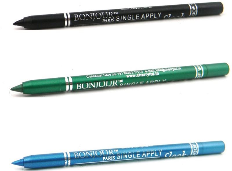 Bonjour Paris Single Apply 0807201651 Black-Green-Blue Kajal(Green, Blue, Black, 3.6 g)