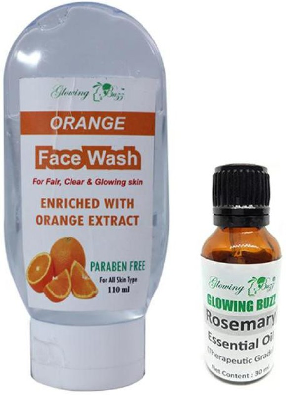 Glowing Buzz Combo Of Orange Face Wash For Fair, Clear and Glowing Skin (110 ml) and 100% Pure Rosemary Essential Oil for Therapeutic Aromatherapy (30 ml) (Set of 2) (1 Pc Each)(2 Items in the set)