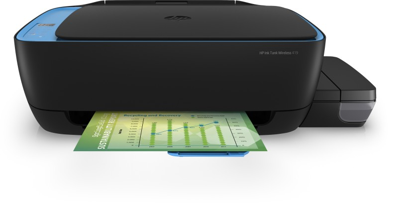 HP INK TANK WIRELESS 419 Multi-function Color Google Assistant and Alexa Printer(Blue, Black, Ink Bottle)