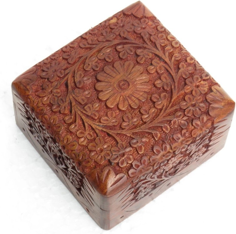 CAC EVER online JEWELLRY BOX 4*4 MULTI PURPOSE BOX Vanity Box(Brown, INSIDE RED COLOUR CLOTHE)