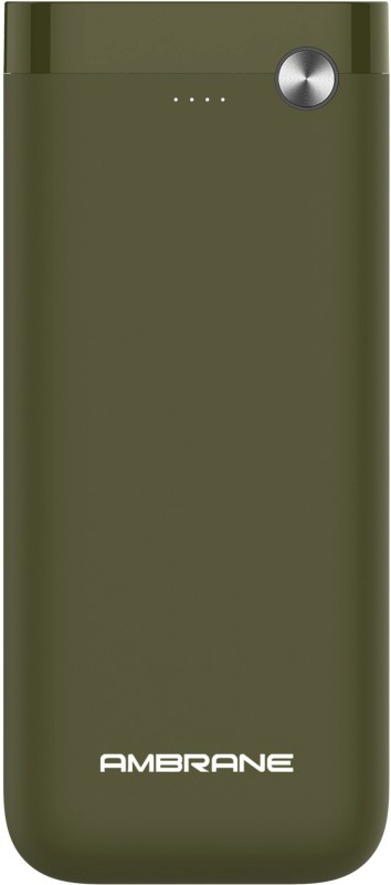 Ambrane 20000 mAh Power Bank (Fast Charging, 10 W)(Olive Green, Lithium Polymer)