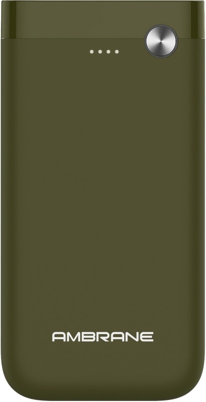 Ambrane 15000 mAh Power Bank (Fast Charging, 10 W)(Olive Green, Lithium Polymer)