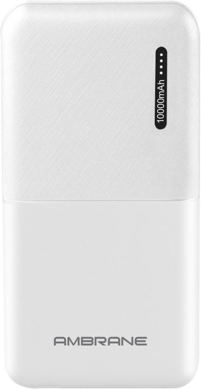 Ambrane 10000 mAh Power Bank (Fast Charging, 12 W)(White, Lithium Polymer)