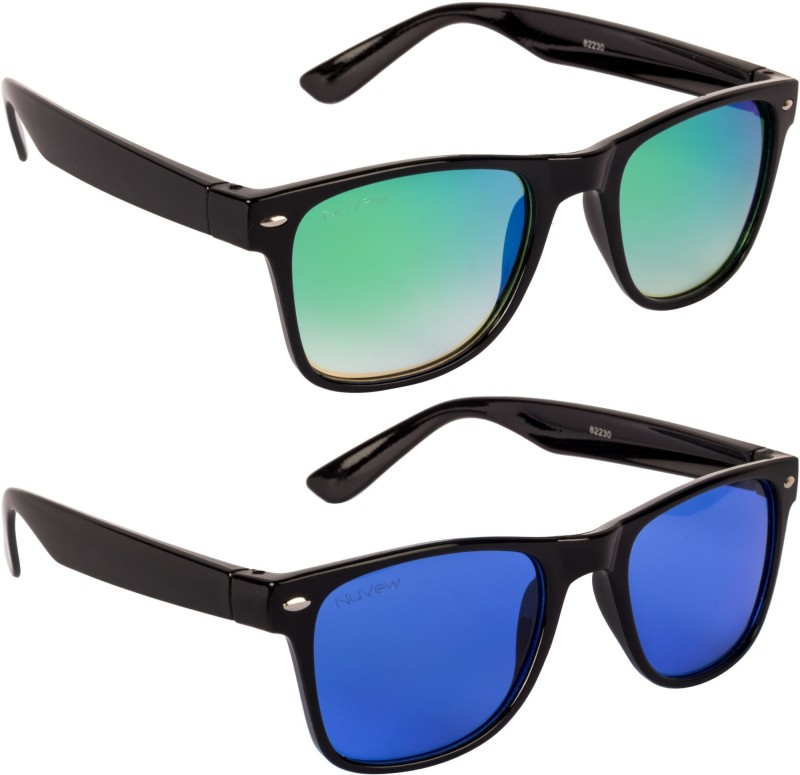 NuVew Wayfarer Sunglasses(For Men & Women, Green, Blue)