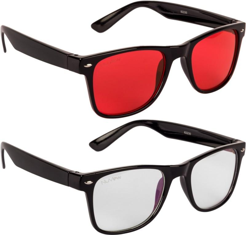 NuVew Wayfarer Sunglasses(For Men & Women, Clear, Red)
