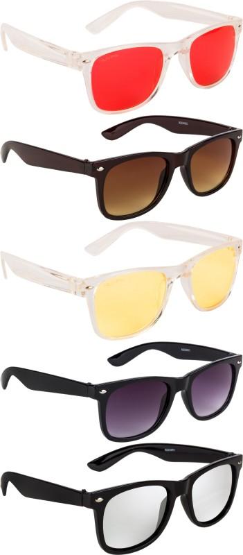 NuVew Wayfarer Sunglasses(For Men & Women, Silver, Brown, Violet, Red, Yellow)