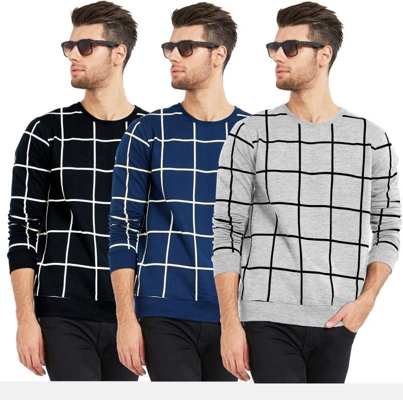 MANIAC Checkered Men Round Neck Dark Blue, Black, Grey T-Shirt(Pack of 3)