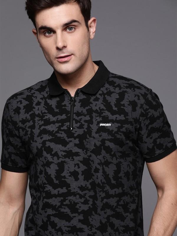 Ducati Printed Men Polo Neck Black, Grey T-Shirt