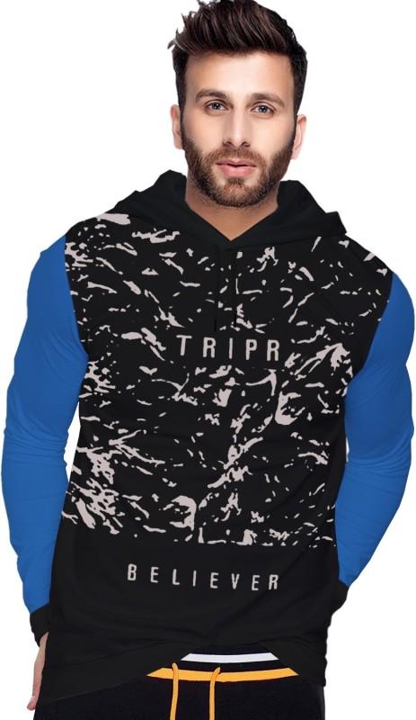 Tripr Printed Men Hooded Neck Black, Light Blue T-Shirt