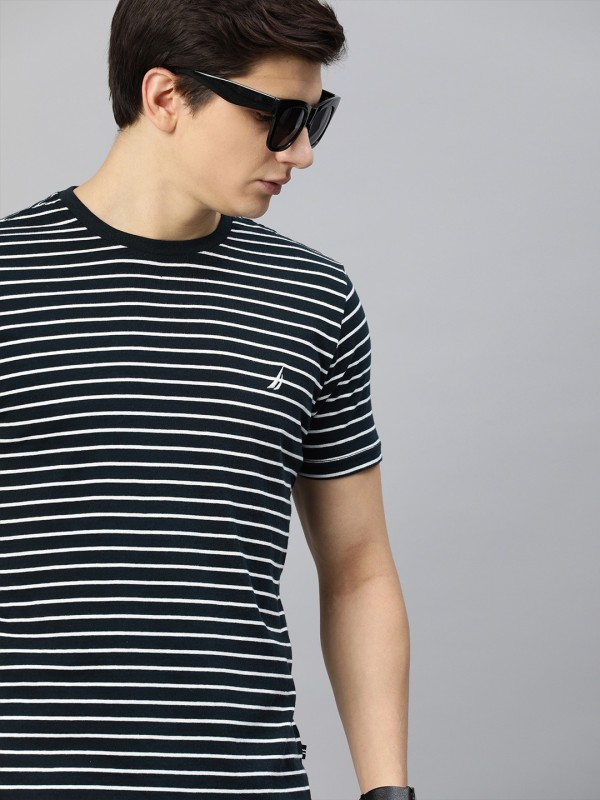 Nautica Striped Men Round Neck Dark Blue T-Shirt